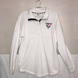 Victoria's Secret White Spring Print Quarter Zip